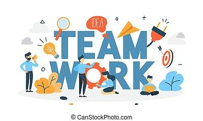 concepto, trabajo en equipo, ilustración