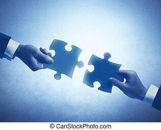 concepto, trabajo en equipo, integración
