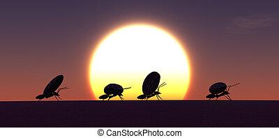 concepto, trabajo, hormigas, equipo