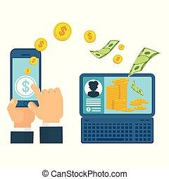 concepto, transferencia, dinero, computadora