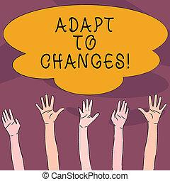concepto, trato, texto, con éxito, él, changes., su, adaptar...