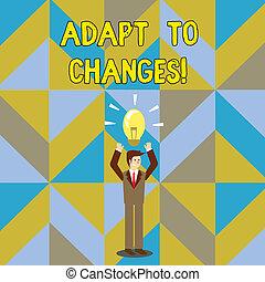 concepto, trato, texto, con éxito, él, changes., su, ...