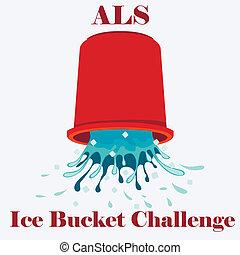 concepto, ve, desafío, cubo, hielo, als