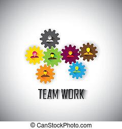 concepto, ve, y, empleados, -, trabajo en equipo, equipo, ejecutivos corporativos