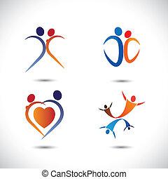 concepto, vector, graphic-, amor, pareja, juntos, saltar...