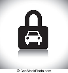 concepto, vector, graphic-, negro & blanco, car(motorcar), y, cerradura, icono