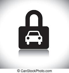 concepto, vector, graphic-, negro & blanco, car(motorcar), y, cerradura, icono