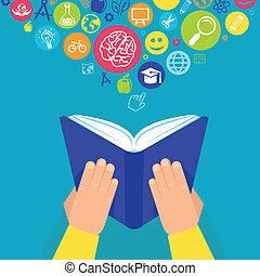 concepto, -, vector, ho, manos, educación