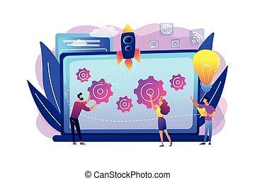 concepto, vector, inicio, illustration., acelerador