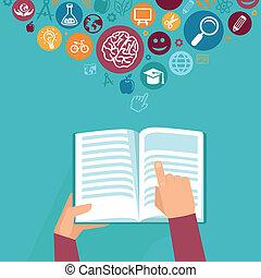 concepto,  -,  vector, tenencia, Manos, educación, libro