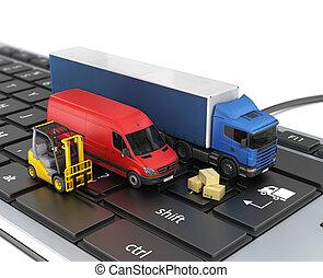 concepto, vehicles., delivery., entrega, en línea, orden