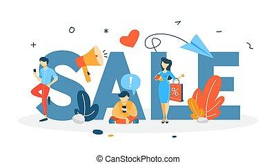 concepto, venta, ilustración