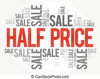 concepto, venta, palabras, mitad, empresa / negocio, plano de fondo, precio, nube