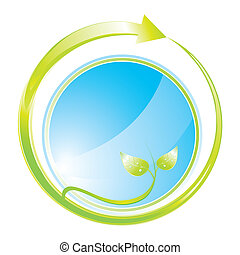 concepto, verde, icono