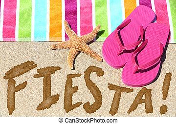 concepto, viaje, fiesta, diversión, fiesta, playa