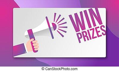 concepto, victoria, -, diseño, premios, orador, bandera