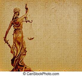 concepto, viejo, justicia, papel, plano de fondo, estatua, ley