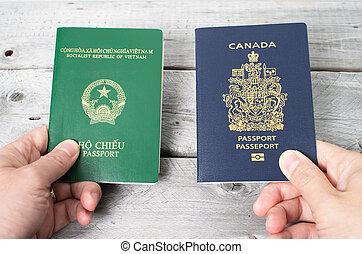 concepto, vietnamita, ciudadanía, dual, canadiense