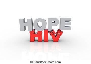 concepto, VIH, texto, rotura,  -, pelea, esperanza,  3D