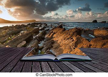 concepto, vista marina, imagen, creativo, libro, páginas