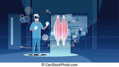 concepto, vr, humano, auriculares, doctor, hospital,...
