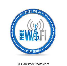 concepto, wifi, libre, señal, ilustración, sello