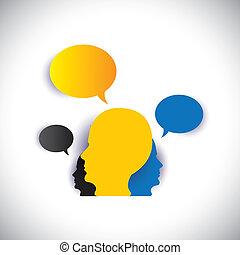 concepto, y, liderazgo, empleados, -, director, vector,...