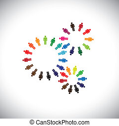 concepto, y, representar, gente, equipos, comunidades,...