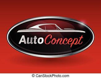 conceptontwikkeling, met, chroom, badge, van, muscle, auto,...