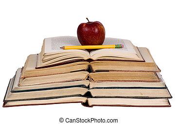 conceptos, educativo, libros, (open, apple)