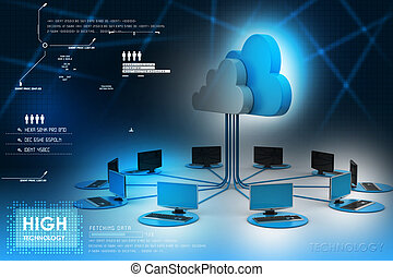 conceptos, nube, informática, dispositivos