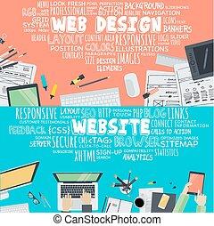conceptos, para, sitio web, diseño
