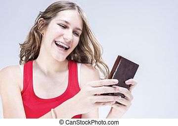 concepts, в чате, brackets, зубоврачебный, shot., ideas., smiling., indoors, подросток, женский пол, teeth, cellphone., кавказец, счастливый