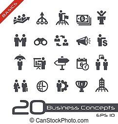 concepts affaires, icône, ensemble, --, fondamental