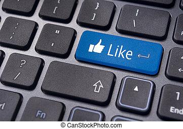 concepts, aimer, média, clavier, bouton, social, message