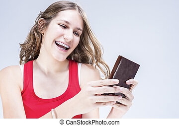concepts, bavarder, parenthèses, dentaire, prise vue., ideas., sourire., intérieur, adolescent, femme, dents, cellphone., caucasien, heureux