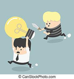 Concepts Cartoons Thief stealing idea Businessman