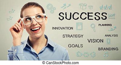 concepts, femme, reussite, business, jeune