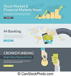 Flat design vector illustration concepts for business, finance, stock market and financial market news, consulting, business planning and strategy, m-banking, online investing, mobile payment, crowdfunding. Concepts for web banners, print templates, promotional materials.