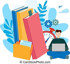 concepts for E-learning, online education, e-book, self-education.