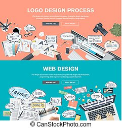 Concepts for logo and web design - Set of flat design...