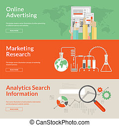 Set of flat design concepts for online advertising, marketing research and analytics search information. Concepts for web banners and print materials.