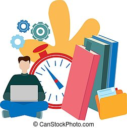 Concepts for online education, e-book, E-learning, self-education.
