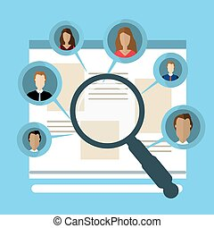 Concepts for Searching people, employees, candidates, team members. Flat design illustration