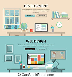 Concepts for web development - Set of flat design concept...
