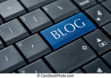 Concepts of blogging - Modern keyboard with blog text on ...