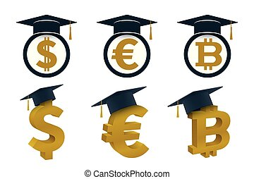 Concepts of graduation cap with currency