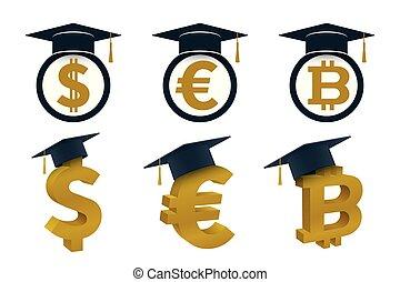 Concepts of graduation cap with currency - Graduation cap...