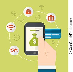 Concepts of online payment methods. Icons for online payment gateway, electronic funds, flat style design