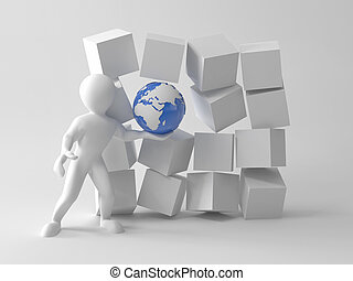 Men with earth in boxes. 3d